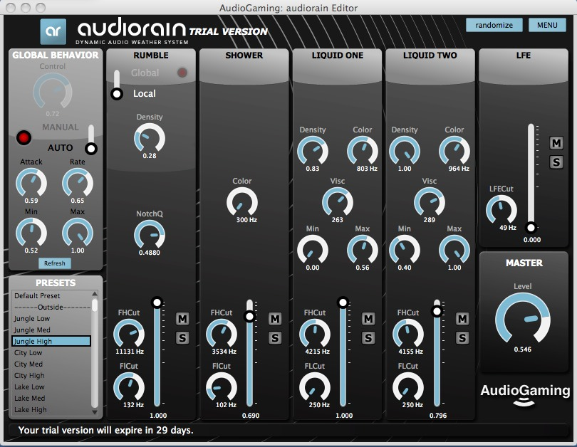 AudioRain plugin